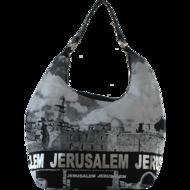 Israël Schoudertas met mooie zwart/wit print van de 'Kotel' (de Westelijke Muur) en met zilver groot het w