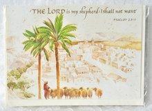 Wenskaart uit Israel met Engelse tekst ter bemoediging Psalm 23:1