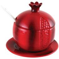 Granaatappelpotje / honingpotje op schotel van rood aardwerk voor meerdere doeleinden geschikt