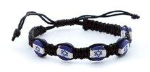 Armband, leuk zwart gehaakt armbandje met 'Israelvlag' kralen