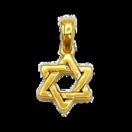 Davidster hangertje van zilver verguld met geelgoud, klein gevlochten ontwerp van Marina