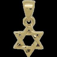 Davidster hangertje van zilver verguld met geelgoud, klein gevlochten ontwerp
