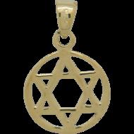Davidster hangertje in cirkel van zilver verguld met geelgoud, mooi in al zijn eenvoud