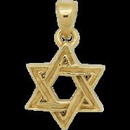 Davidster hangertje van zilver verguld met geelgoud, mooi gevlochten ontwerp met reliëf effect