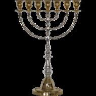 Prachtige grote Menorah /Menora van zwaar brons in twee kleuren en in twee grote maten verkrijgbaar (56 en 43 cm hoog)