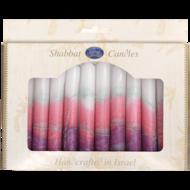 Shabbats kaarsen, kosher en handgemaakt in Safed verpakt per 12 stuks. lila/roze/wit