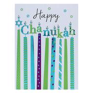Chanukah kaart, grappige langwerpige kaart met de tekst: Happy Chanukah en vrolijk versierde kaarsen