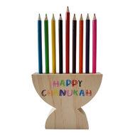 Houten Chanukah / Chanoeka Menorah, (Chanoekia) potlodenstandaard inclusief kleurpotloden