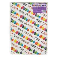 Cadeaupapier voor Chanukah / Chanoeka, pakketje van fleurige vellen cadeaupapier met dreidels van 70 x 50cm met 2 bijpassende k
