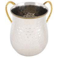 Mooie luxe gehamerd roestvrijstalen set van zilverkleurige waskom en kan met goudkleurige handvatten en bewerkte rand voor de r