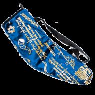Tas voor grote Ramshoorn Shofar in prachtig donkerblauw fluweel met goudkleurige print 'Bid voor de vrede van Jeruzalem&