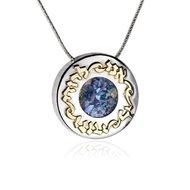 Bijzondere ronde hanger met Romeins Glas en in 9K goud de Hebreeuwse tekst:'Ik ben van mijn Geliefde en mijn Geliefde is v