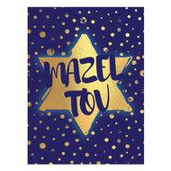 Felicitatiekaart, neutrale 'Mazeltov' donkerblauwe kaart met goudkleurige Davidster en stippen, passend voor elke gel