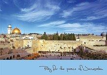 Bijbelse Wenskaart uit Israel met een foto van de Tempelberg en de Kotel (Westelijke Muur)en Engelse tekst