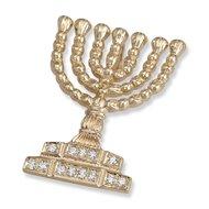 Menorah hangertje, schitterend 14K gouden Tempel Menorah hangertje met diamantjes uit de Rafael Jewelry collectie