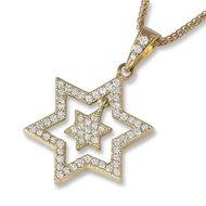Davidster hangertje, exclusief 18K gouden dubbel Davidster hangertje bezet met diamantjes uit de Rafael Jewelry collectie