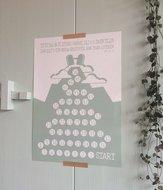 Omer aftelposter / kalender van Ahavah design met zilverkleurige stickers om de 50 dagen vanaf Pesach tot Sjavoe'ot te t