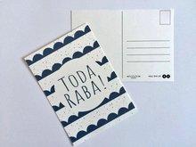 Ansichtkaart Toda Raba (dankjewel) in navy blauw met vrolijke golfjes van Ahavah design