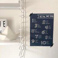 Poster / wanddecoratie A4 van Ahavah design 'ik tel tot tien' in het Nederlands, Engels, en Hebreeuws fonetisch navy
