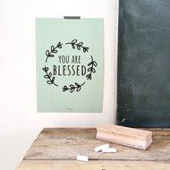 Poster / wanddecoratie A4 van Ahavah design mintgroen met de tekst: You are blessed (Je bent gezegend)
