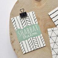 Cadeaukaartje met Shabbat Shalom (Vredige/Goede Shabbat) in mintgroen van Ahavah design