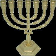 Mooi ontworpen goud kleurige Menorah met Davidster klein model van 15 cm hoog en 13,8 cm breed