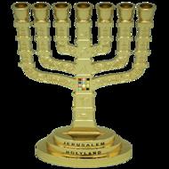Klassiek model goud kleurige Menorah gedecoreerd met de Borstplaat van de Hogepriester en afbeeldingen van Jeruzalem 16 x 11,5