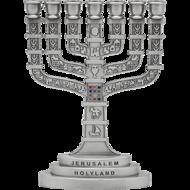 Klassiek model zilver kleurige Menorah gedecoreerd met de Borstplaat van de Hogepriester en afbeeldingen van Jeruzalem 16 x 11,