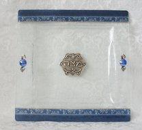 Handgemaakte glazen Matze schotel in 'Israel' blauw dessin uit de collectie van Lily Art