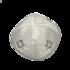 Keppeltje van stevig wit satijn met op elke zijde een geborduurde Davidster in zilverdraad en een zilverkleurige bies