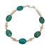Prachtige Armband met glanzend gepolijste ovale Eilatstenen en een combinatie van 9 Kt vergulde en zilveren kralen uit de Rafae